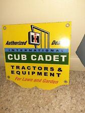 Vintage International Cub Cadet Tractor Equipment Sign Porcelain Lawn and Garden