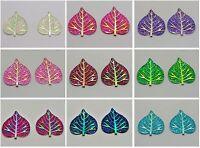 20 Flatback Resin Glitter Heart Leaves Rhinestone Cabochons 38X33mm Pick Color