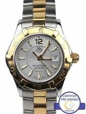 Ladies Tag Heuer Aquaracer WAF1420 Silver 27mm Two Tone Gold Quartz Date Watch