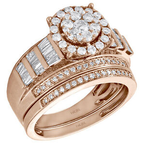 14K Rose Gold Baguette Diamond Flower Engagement + Wedding Rings Bridal Set 1 CT