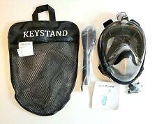 Keystand Size L / XL Full Face Snorkel Mask Anti Leak/Fog w/ Mesh Bag Black NEW