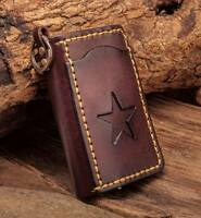 C76 Brown Mens Punk Star Genuine Leather Card Holder Keychain Key Case For Women