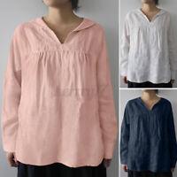 Plus Size Womens Cotton Long Sleeve Basic Baggy V Neck Shirt Shirt Blouse Plus
