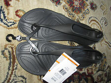 NWT Womens Crocs SEXI Flip Sandals Thong Gladiator Black SIZE: 5, 6