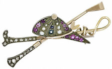 Sapphire Victorian 925 Silver Brooch Pin 0.65ct Rose Cut Diamond Amethyst Pearl