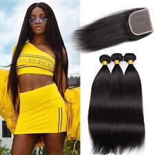 "3 Bundles Brazilian Straight Virgin 100% Human Hair Weave With 4*4""Lace Closure"