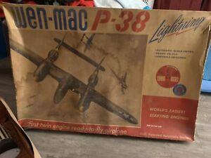 VINTAGE 1958 WEN MAC PLASTIC P - 38 LIGHTNING CONTROL LINE AIRPLANE
