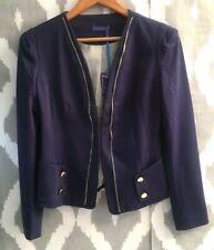Azara Paris Blue Military Style Blazer&Jacket Zip Details Size M UK 10 NEW -A206