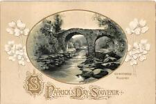 ST. PATRICK'S DAY HOLIDAY IRELAND OLD WEIR BRIDGE EMBOSSED POSTCARD 1916 409