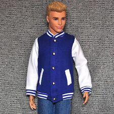 Barbie Doll Fashion Clothes Blue Coat Baseball Jacket For KEN Dolls