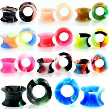 1pc 6mm-14mm SLIM SOFT Silicone Stretcher Earring Flesh Tunnel Ear Plug Rainbow