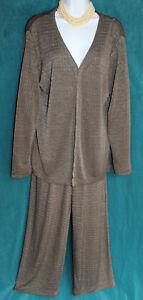 CHICOS Brown Plaid Slinky Suit Pants + Open Jacket Sz 1 S Travel Knit 2 pc