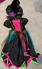 M&S HALLOWEEN BLACK PINK WITCH COSTUME GIRLS DRESS AGE 9-10 YRS WITH HAT