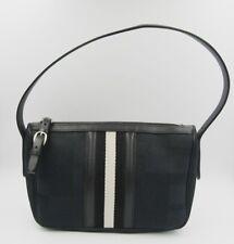 Bally Vintage shoulder bag small black canvas leather stripe signature classic