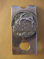 VINTAGE STERLING SILVER MONEY CLIP NUDE ON HALF AZTEC CALENDER, SIGNED, MEXICO