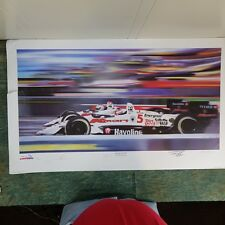 Newman Haas Litho Signed Mansell Andretti, 1993, unframed, bottom corner cut out