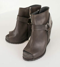 New BRUNELLO CUCINELLI Brown Leather Wedge Booties Boots Shoes 38.5/8.5 $2115