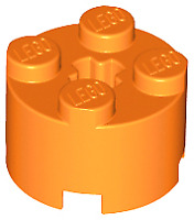 Lego Round Brick 2x2 with Axle Hole 6143 in lt trans neon yellow pack of 3