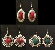 Set of 3 pairs of hook earrings~Faux Turquoise stone~Tibetan Silver~Beautiful!!!