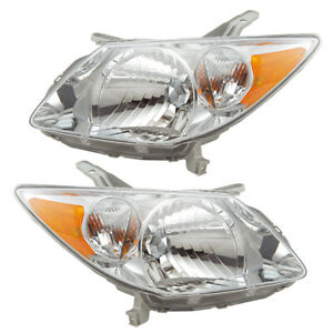 Headlights Front Lamps Pair Set for 03-04 Pontiac Vibe Left & Right