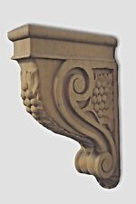 Pair of Maple Bar Corbels Hand Carved Acanthus Leaf & Berry Carving