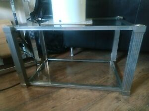 Vintage Pierre vandel side coffee table nickel brass glass shelves 70s