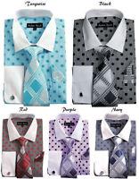 Men's Fashion Dress Shirt Polka Dot Design French Cuff Links Tie&Hanky FL632