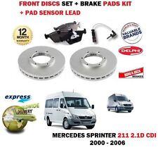 FOR MERCEDES SPRINTER 211D 2.1 2000-2006 FRONT BRAKE DISCS SET + PADS + SENSORS