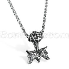"""Men Vintage Stainless Steel Thor's Hammer Double Wolf Pendant Necklace Chain 22"""""""