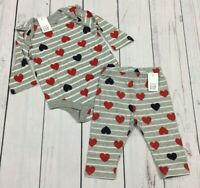 Baby Gap Girls 0-3 Month Heart Shirt & Pants Outfit. Nwt
