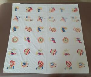 "Vtg Cotton Table Cover Cloth Mexican Indian Southwest Design 48"" Square Arizona"