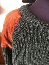 Woolrich Vintage  Men's Wool Sweater, Leather Elbows Shoulders Patch XL