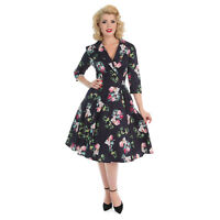 Hearts & Roses London Mysterious Purple Vintage Retro 1950s Floral Flared Dress