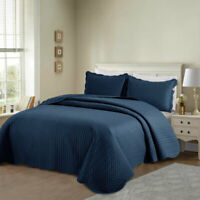 Modern Quilted Bedspread 3 Piece Bed Throw Comforter Set Single Double King Size