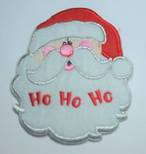 SANTA FATHER CHRISTMAS L EMBROIDERED APPLIQUE BADGE MORALE PATCH SEW OR IRON ON