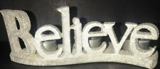 "Yankee Candle BELIEVE Glittered Multi Tea Light Holder NIB 3.25"" X 3.75"" X 8.75"""