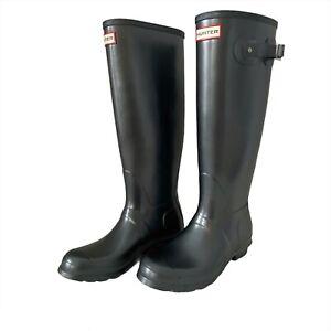 Hunter Original Tall Gray Pearlized Waterproof Vegan Rain Boots Women Sz 8