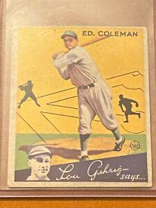 ⚾1934 Goudey Baseball #28 Ed COLEMAN VG-VGEX ⚾