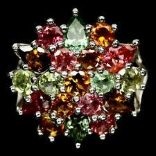 TOP TOURMALINE RING : Natürliche Mehrfarbig Turmalin Silber Ring Gr.18,5 R637