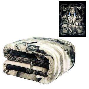 DGA Native American Mother Earth Wildlife Flannel Plush Queen Size Blanket