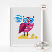 Owl - Nursery art - Modern Embroidery Cross stitch PDF Pattern - 082