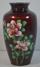 Antique Red Foil Japanese Cloisonné Vase with Flowers