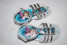 Toddler Girls SILVER STRAPPY SANDALS Open Toe DISNEY FROZEN Aqua Snowflakes 12