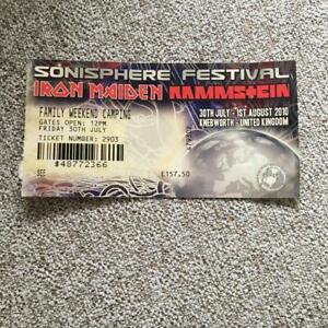 Iron Maiden Rammstein ticket Sonisphere Knebworth Weekend Camping ticket 2010