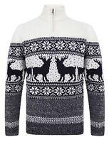 Christmas Jumper 1/4 Zip Gullfoss Xmas Knit Sweater Pullover Ecru Laudred Nordic