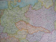 1922 Central European States Large Original Antique Map Czechoslovakia Poland