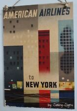 American Airlines New York Vintage Retro Advertising Travel Poster on Wood Sign