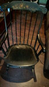Vintage Nichols & Stone Black Hitchcock-Style Rocking Chair Excellent Condition