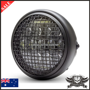"""7"""" Grill retro motorcycle headlight led daymake cafe racer bobber project custom"""