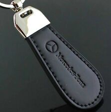 Black PU Leather Drop Keyring For Mercedes Benz Car Logo Key Ring Keychain